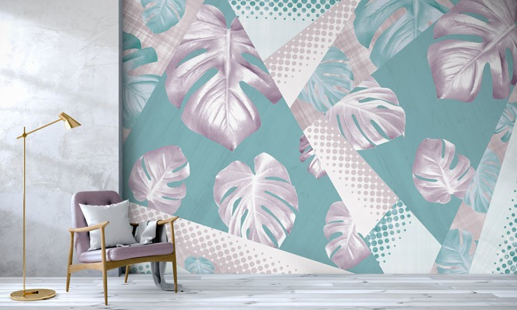 pastel purple and blue palm leaf mural in minimalist room