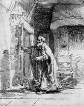 The blind Tobit, 1651 (etching) (b/w photo) wall mural thumbnail