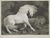 A Horse Affrighted by a Lion, engraved by the artist, pub. 1788 (etching) wall mural thumbnail