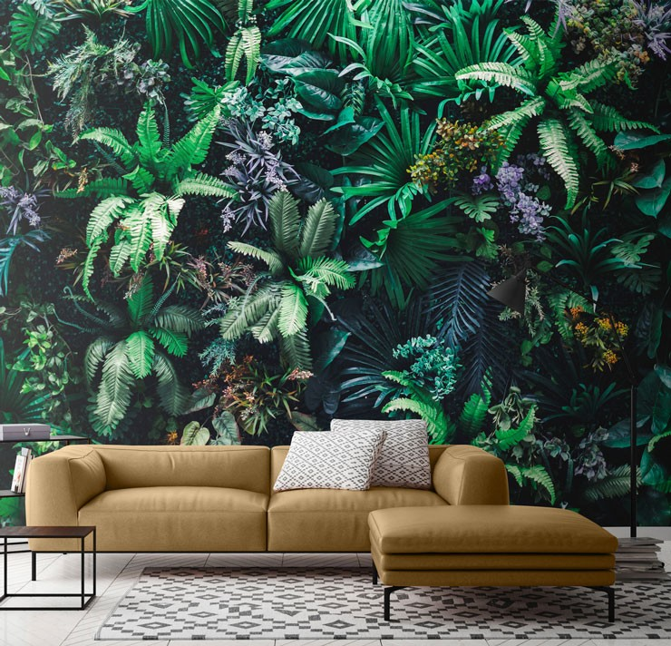 green and purple leafy wall in trendy lounge