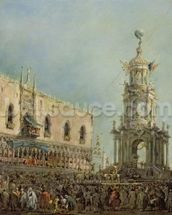 The Doge Watching the Festival of Giovedi Grasso in the Piazzetta di San Marco, 1766-70 (oil on canvas) mural wallpaper thumbnail