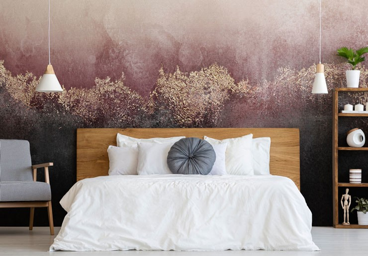 pink and black watercolour wallpaper with gold dust in modern bedroom