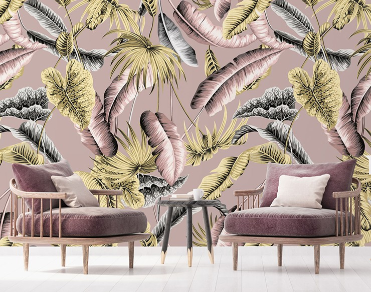 green and purple palm tree wallpaper with purple velvet armchairs