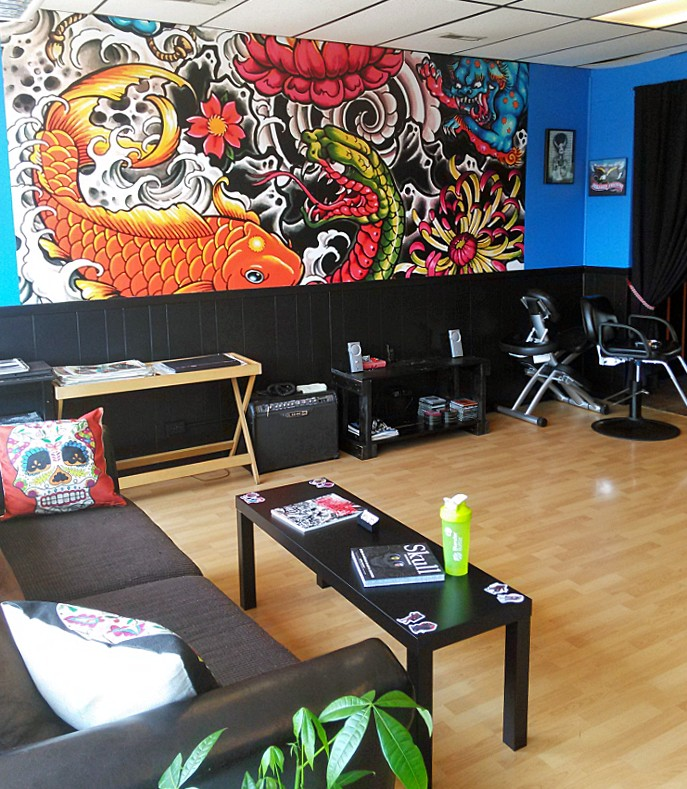 Tattoo mural in studio