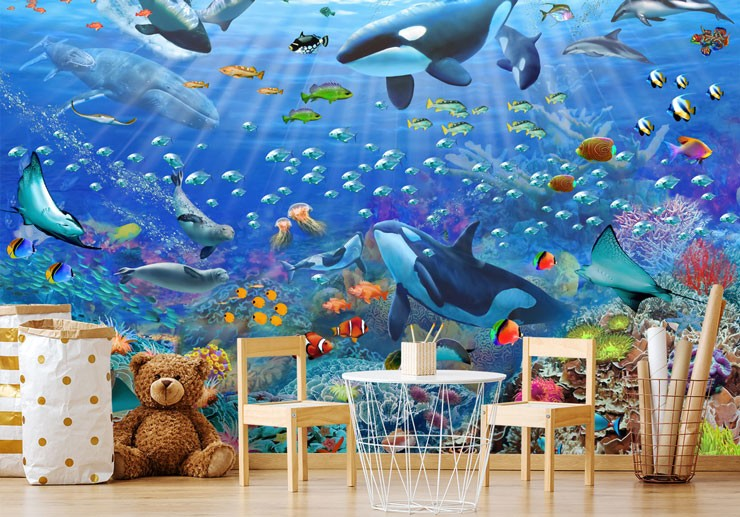 illustrated sea life ocean wallpaper in child's trendy nursery