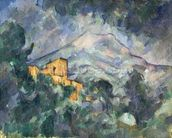 Montagne Sainte-Victoire and the Black Chateau, 1904-06 (oil on canvas) wallpaper mural thumbnail