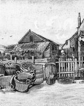 The fish drying barn at Scheveningen, c.1882 (pencil on paper) (b/w photo) mural wallpaper thumbnail