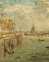 Somerset House Terrace from Waterloo Bridge, c.1819 (oil on panel) wallpaper mural thumbnail