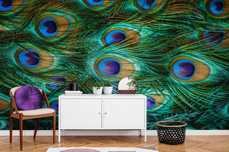 emerald green and blue peacock eyes statement wallpaper in room with white cabinet and wooden chair with purple cushion on top