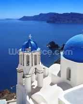 Santorini with Traditional Church in Oia, Greece wallpaper mural thumbnail