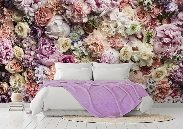 photo of floral wallpaper with white and pink bed