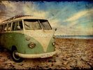 Green VW Camper on the Beach wall mural thumbnail