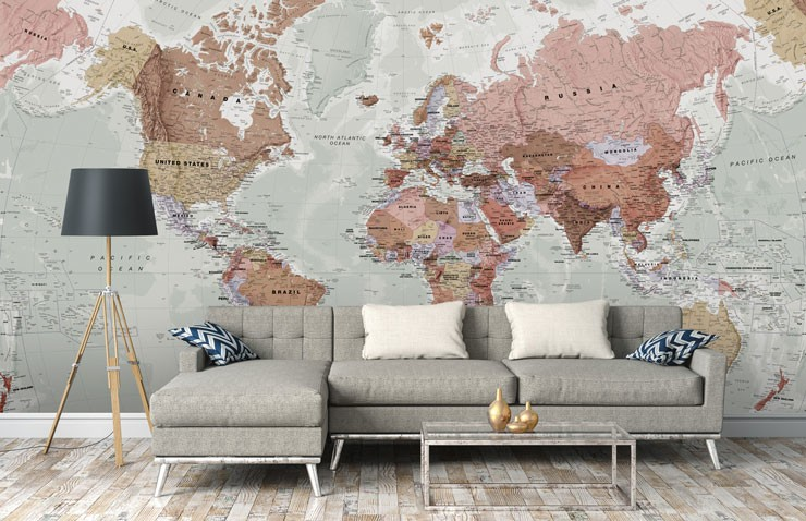terracotta, pink and grey world map in stylish lounge
