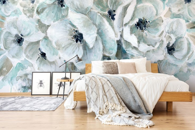 painted teal flowers in on-trend guest bedroom
