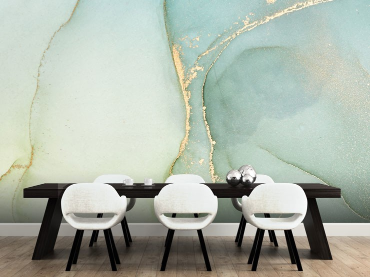 teal marble wall mural in modern dining room