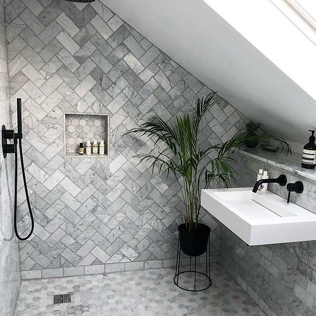beautiful grey tiled walls and floor bathroom with walk-in shower