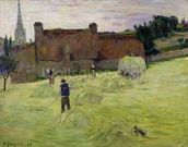 Haymaking in Brittany, 1888 (oil on canvas) mural wallpaper thumbnail