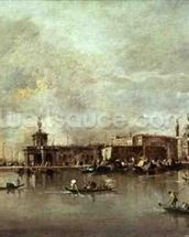 Santa Maria della Salute seen from the mouth of the Grand Canal, Venice (oil on panel) wallpaper mural thumbnail