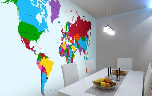 world map wall mural