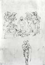 Figural Studies for the Adoration of the Magi, c.1481 (pen & ink and metalpoint on paper) wallpaper mural thumbnail