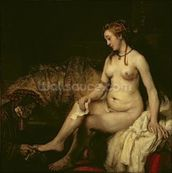Bathsheba Bathing, 1654 (oil on canvas) (see 220594 for detail) wall mural thumbnail