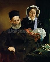 Portrait of Monsieur and Madame Auguste Manet, 1860 (oil on canvas) wall mural thumbnail