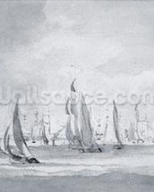Shipping in the Thames (graphite on paper) wallpaper mural thumbnail
