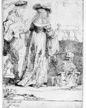 Death appearing to a wedded couple from an open grave, 1639 (etching) wall mural thumbnail