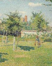 Woman in the Meadow at Eragny, Spring, 1887 (oil on canvas) mural wallpaper thumbnail