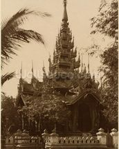 Temple in Mandalay, Burma, late 19th century (albumen print) (b/w photo) mural wallpaper thumbnail