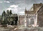 East Bergholt Church: view from the East (watercolour) wallpaper mural thumbnail