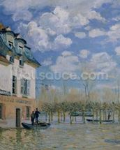 The Boat in the Flood, Port-Marly, 1876 (oil on canvas) wallpaper mural thumbnail