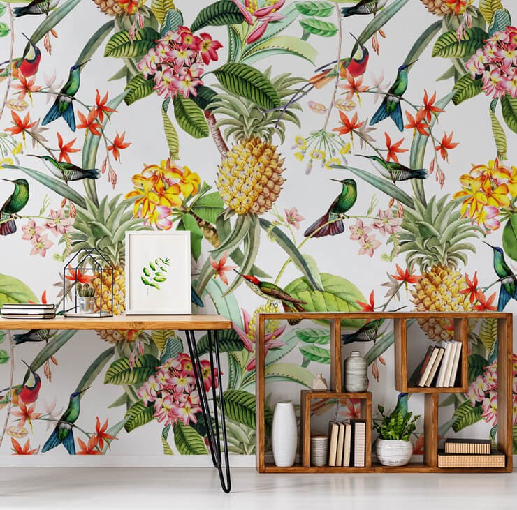 pineapple, tropical flowers and birds wall mural in home office with box shelves