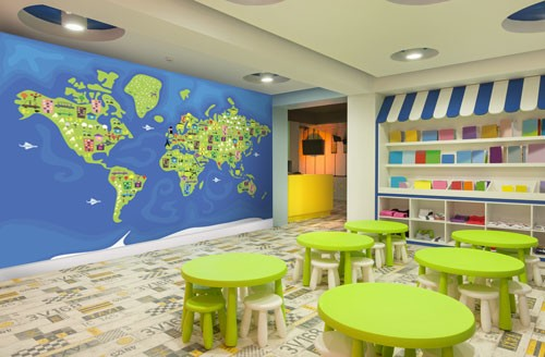 childrens world map wall mural