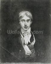 Self portrait, 1798 (oil on canvas) (b/w photo) wall mural thumbnail