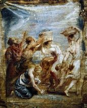 Israelites gathering manna, c.1626-28 (oil on wood ) mural wallpaper thumbnail