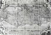 Typus Orbis Terrarum, world map, 1577 (engraving) (b&w photo) wallpaper mural thumbnail