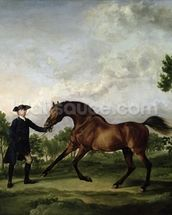 The Duke of Ancasters bay stallion Blank, held by a groom, c.1762-5 wall mural thumbnail