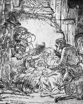 Nativity, 1654 (etching) (b/w photo) mural wallpaper thumbnail