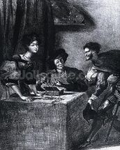 Mephistopheles, Martha and Marguerite, from Goethes Faust, 1828, (illustration), (b/w photo of lithograph) mural wallpaper thumbnail