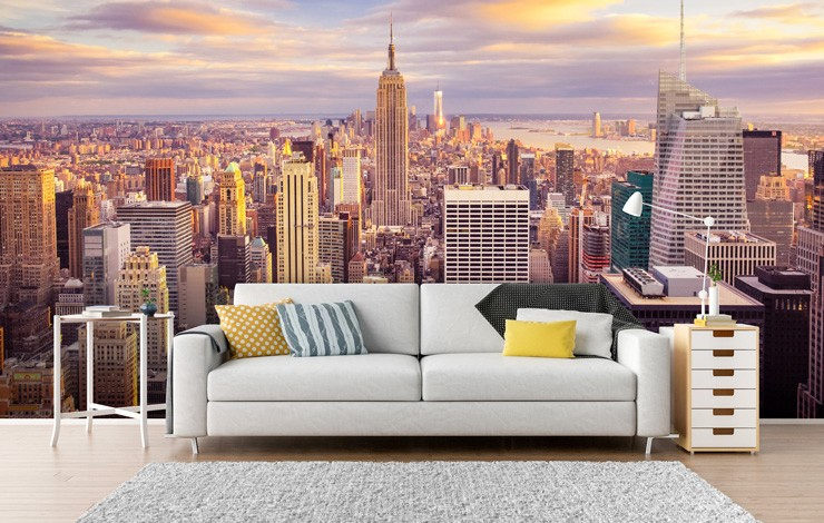 Midtown_Manhattan_skyline_wallpaper_in_living_room