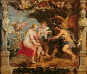 Thetis receiving Achilles armour from Vulcan; mural wallpaper thumbnail