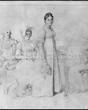 The Forestier Family (graphite on paper) (b/w photo) (see also 233241) wallpaper mural thumbnail
