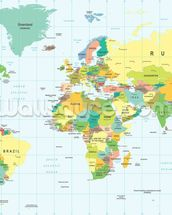 Detailed World Map wall mural thumbnail