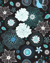 Floral - Black and Blue mural wallpaper thumbnail