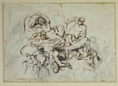 Study for the Death of Sardanapalus, 1864 (pen & ink and graphite on paper) wall mural thumbnail