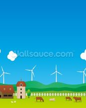 Cartoon Wind Farm wallpaper mural thumbnail