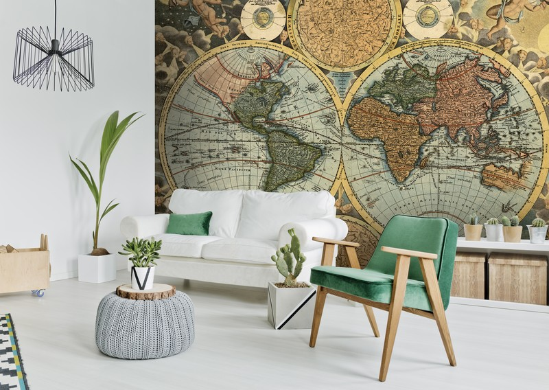 Ancient worl map wall mural from Wallsauce