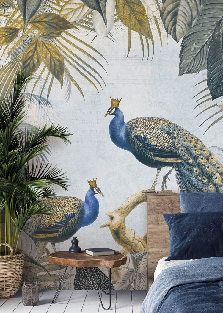 illustration of two crowned peacocks in a gold and navy jungle wallpaper in a stylish bedroom