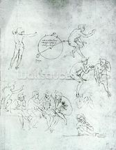 Study of figures for The Adoration of the Magi (pen and ink on paper) mural wallpaper thumbnail
